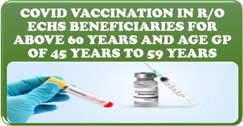 COVID Vaccination in r/o ECHS Beneficiaries for above 60 years and age Gp of 45 years to 59 years with co-morbidities
