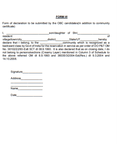 form-vi-for-obc-declaration-applying-for-appointment-to-posts-under-the-government-of-india