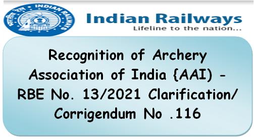 Recognition of Archery Association of India {AAI) – RBE No. 13/2021 Clarification/Corrigendum No .116