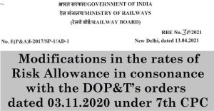 7th-pay-commission-modifications-in-the-rates-of-risk-allowance-railway-board