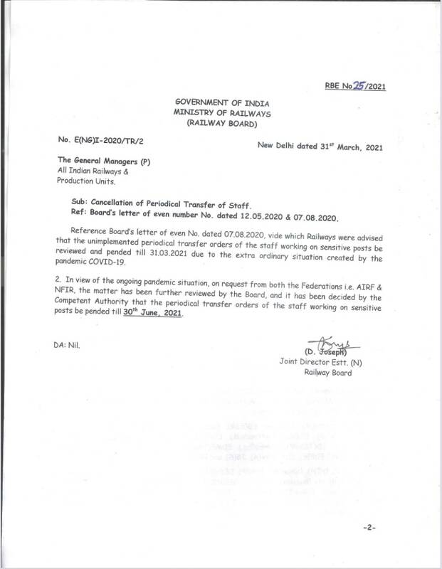Cancellation of Periodical Transfer of Staff in view of the ongoing pandemic situation: Railway Board Order RBE No. 25/2021