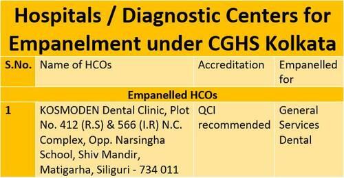 CGHS Kolkata: Empanelment of Kosmoden Dental Clinic, Siliguri for a period of 02 (Two) Years w.e.f. 16th April 2021