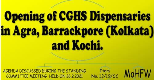 Opening of CGHS Dispensaries in Agra, Barrackpore (Kolkata) and Kochi: Item No. 12/19/SC Standing Committee Meeting
