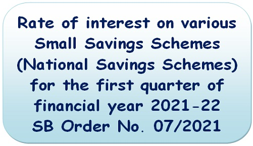 Rate of interest on various Small Savings Schemes – SB Order No. 07/2021