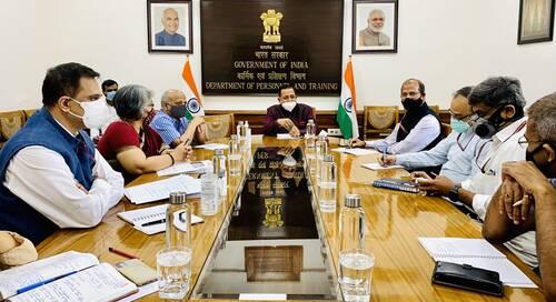 केंद्रीय मंत्री डॉ. जितेंद्र सिंह ने कोविड-19 के प्रसार को रोकने के लिए कार्मिक एवं प्रशिक्षण विभाग द्वारा किए गए उपायों की समीक्षा की