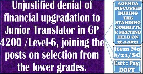 Unjustified denial of financial upgradation to Junior Translator in GP 4200 / Level-6, joining the posts on selection from the lower grades.