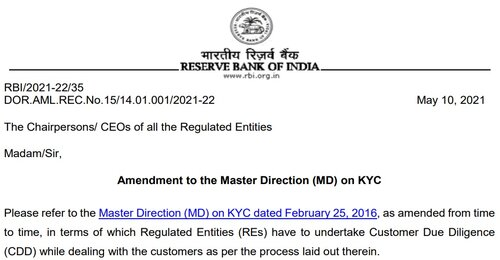 Amendment to the Master Direction (MD) on KYC to further leverage the Video based Customer Identification Process (V-CIP): RBI Circular