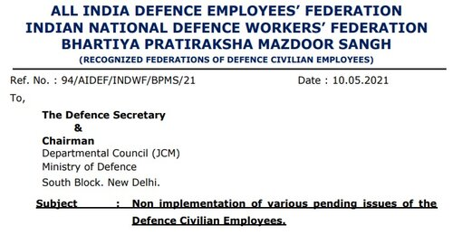 Non implementation of various pending issues of the Defence Civilian Employees: Federation writes to Defence Secretary