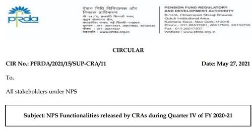 NPS Functionalities released during Quarter IV of FY 2020-21: PFRDA