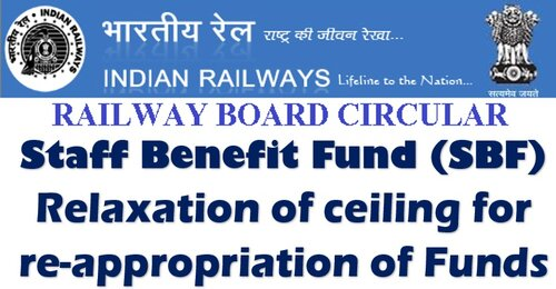 Staff Benefit Fund (SBF) – Relaxation of ceiling for re-appropriation of Funds: Railway Board Order