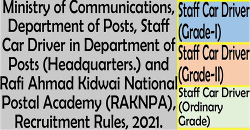 Staff Car Driver (Grade-I), Staff Car Driver (Grade-II) and Staff Car Driver (Ordinary Grade) Recruitment Rules in Department of Posts and RAKNPA