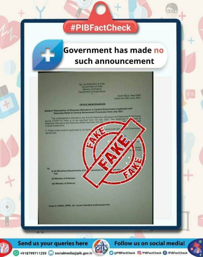 Resumption of DA and DR from July 2021 – Fake document circulating in media: PIB Fact Check