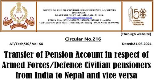 Transfer of Pension Account in respect of Armed Forces/Defence Civilian pensioners from India to Nepal and vice versa