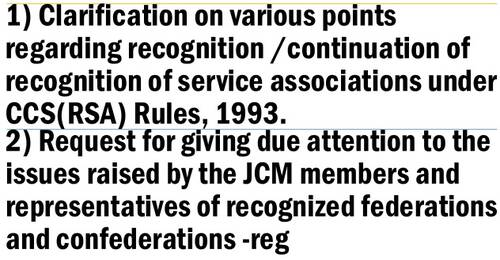 Clarification on various points regarding service associations by DoPT and due attention to the issues raised by JCM members and representatives: MoD
