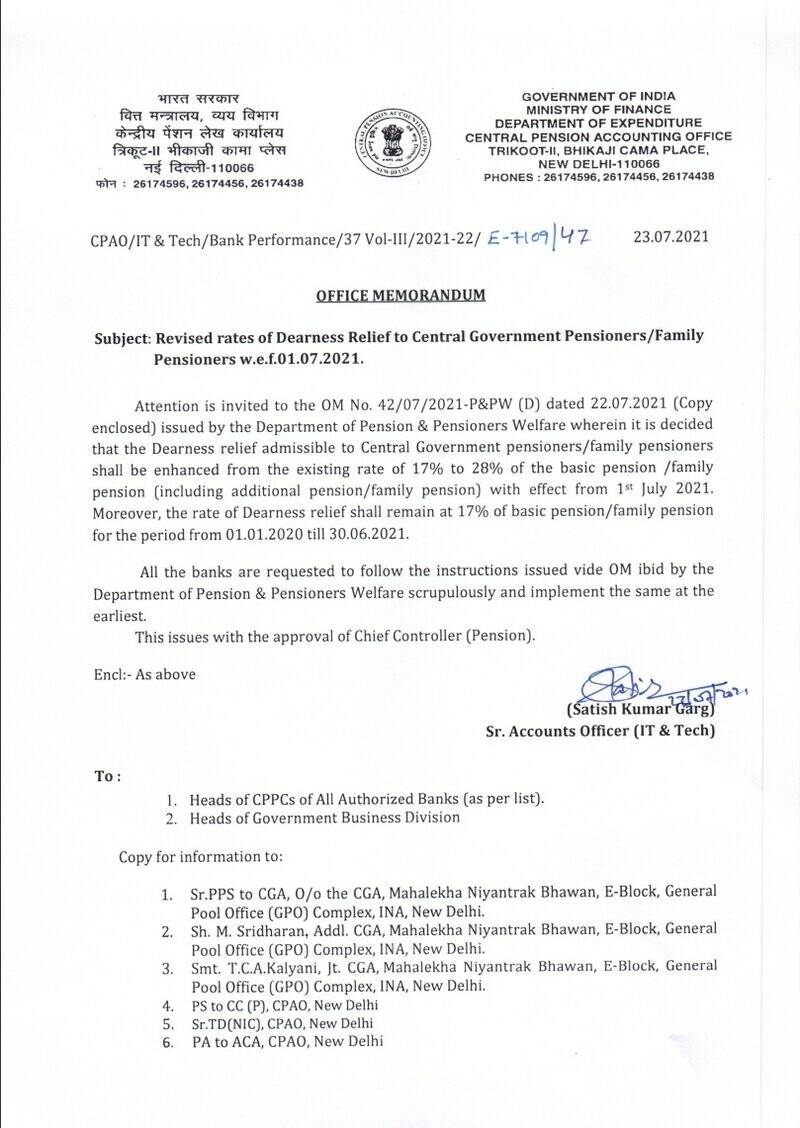 Revised rates of Dearness Relief w.e.f. 01.07.2021 to CG Pensioners/ Family Pensioners: CPAO OM