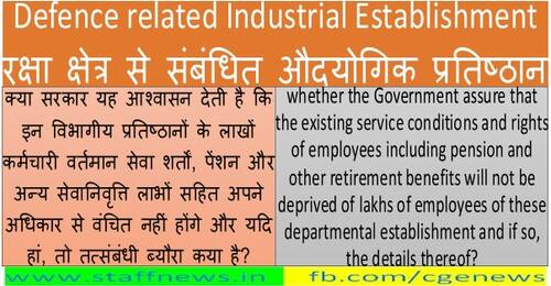 Defence related Industrial Establishment रक्षा क्षेत्र से संबंधित औदयोगिक प्रतिष्ठान: All the employees of OFB transferred to DPSU on Deemed deputation