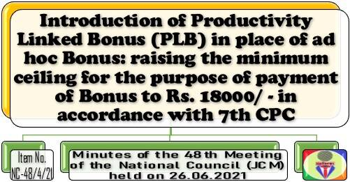 Productivity Linked Bonus in place of ad hoc Bonus: raising the minimum ceiling to Rs. 18000/ – in accordance with 7th CPC: 48th NC JCM Meeting