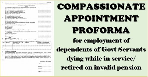 Proforma regarding employment of dependents of Govt Servants dying while in service/retired on invalid pension: DoP&T OM dated 23.08.2021