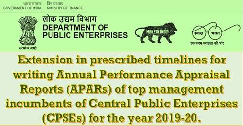 Writing APARs of top management incumbents of CPSE for the year 2019-20: Extension in prescribed Timelines