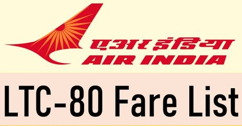 Air India LTC 80 Fare List updated as on 3rd September 2021