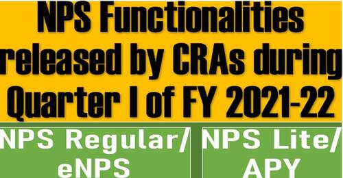 NPS Functionalities released by CRAs during Quarter I of FY 2021-22