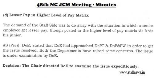 Lesser Pay in Higher Level of Pay Matrix of 7th CPC: Minutes of 48th NC JCM Meeting