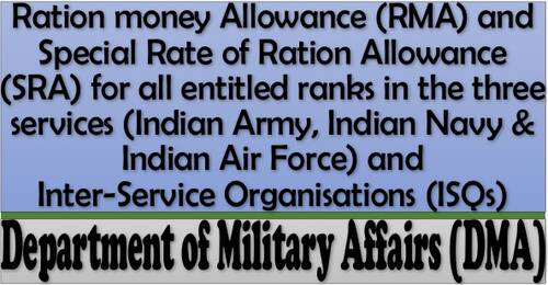 Ration Money Allowance and Special Rate of Ration Allowance for Indian Army, Indian Navy & Indian Air Force for 2021-22