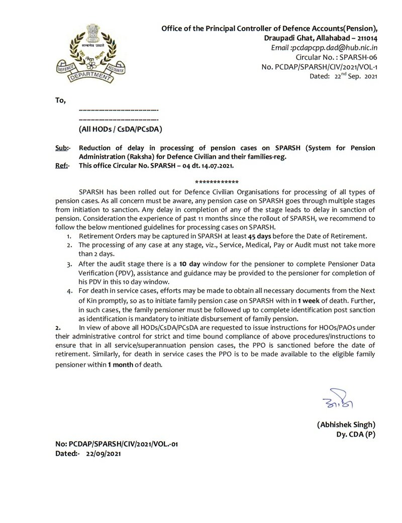 Reduction of delay in processing of pension cases on SPARSH for Defence Civilian and their families- Circular No. SPARSH-06