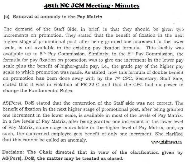 Removal of anomaly in the Pay Matrix and Fixation of Pay on Promotion: Minutes of 48th NC JCM Meeting