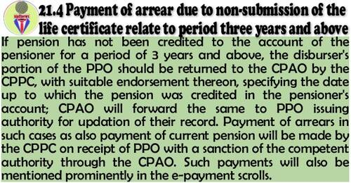 Return of PPO if pension has not been credited to the account of the pensioner for a period of 3 years and above