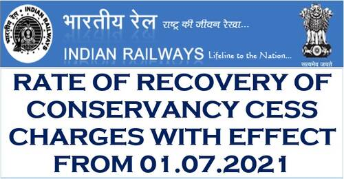 Revision of conservancy Cess Charges of Indian Railways from 01.07.2021 to 30.06.2026