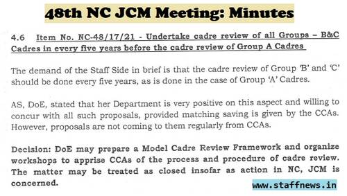 Undertake cadre review of all Groups – B&C Cadres in every five years: Minutes of 48th NC JCM Meeting