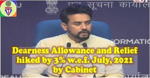 Dearness Allowance and Relief Hiked By 3% w.e.f. July, 2021 by Cabinet महंगाई भत्ते/राहत को 3 फीसदी बढ़ाने को कैबिनेट की मंजूरी