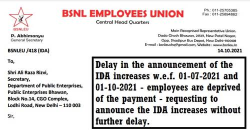 Delay in the announcement of the IDA increases w.e.f. 01-07-2021 and 01-10-2021: BSNLEU writes to DPE