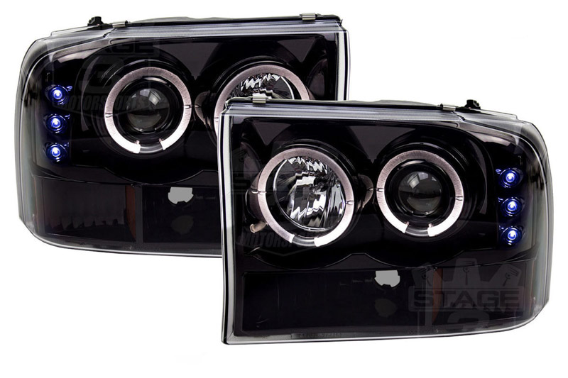hight resolution of 1999 2004 f250 f350 super duty recon smoked projector headlights w led halos drls