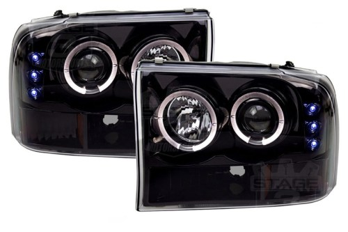 small resolution of 1999 2004 f250 f350 super duty recon smoked projector headlights w led halos drls