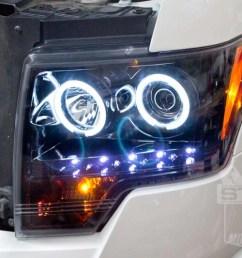 2009 2014 f150 raptor recon projector headlights w ccfl halos smoked 264190bkcc [ 1200 x 800 Pixel ]