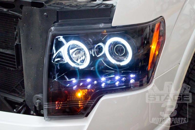 medium resolution of 2009 2014 f150 raptor recon projector headlights w ccfl halos smoked 264190bkcc
