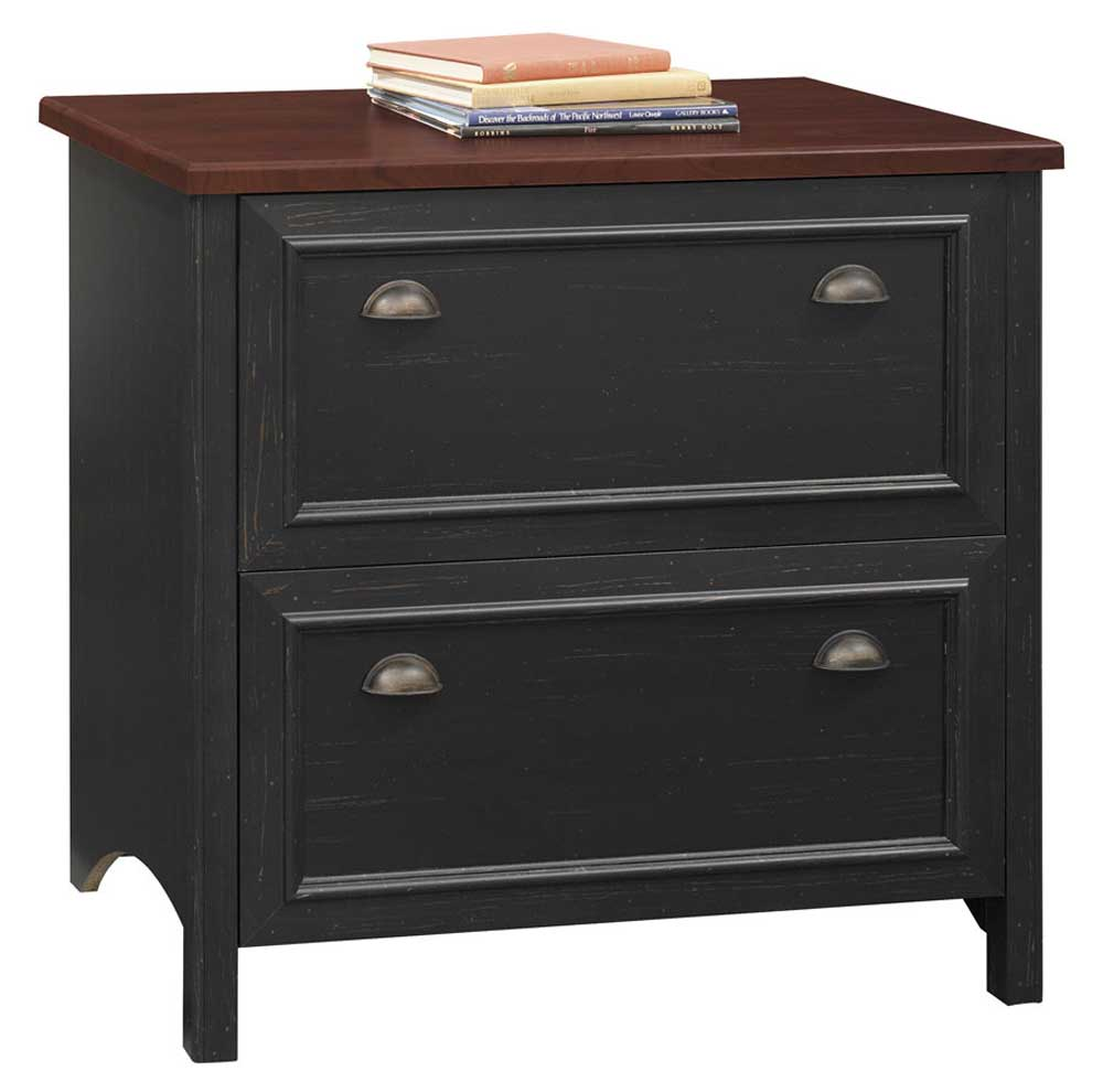 Black Wood Lateral File Cabinet 2 Drawer