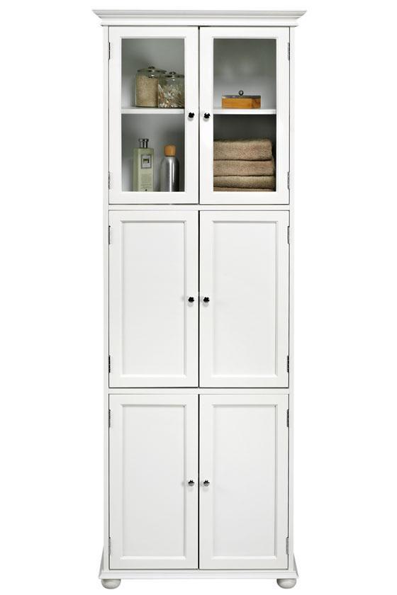 Tall White Bathroom Storage Cabinet