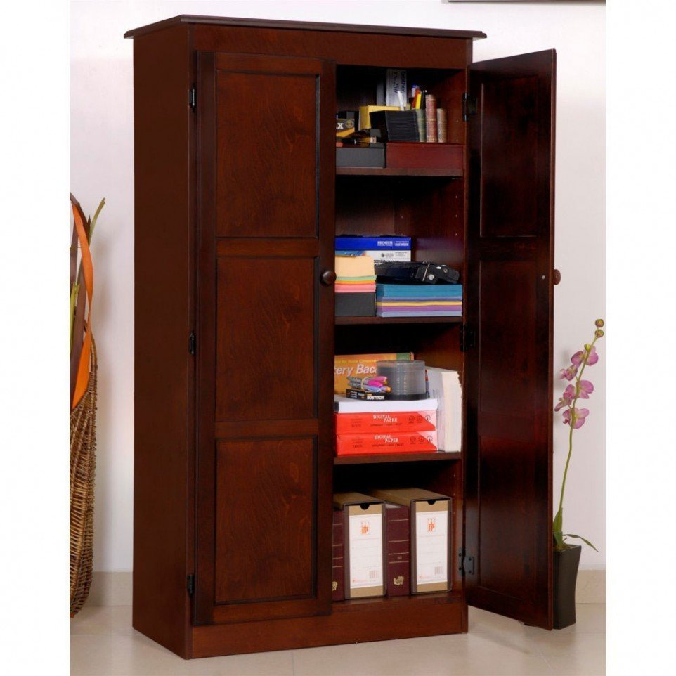 Dark Wood Storage Cabinet