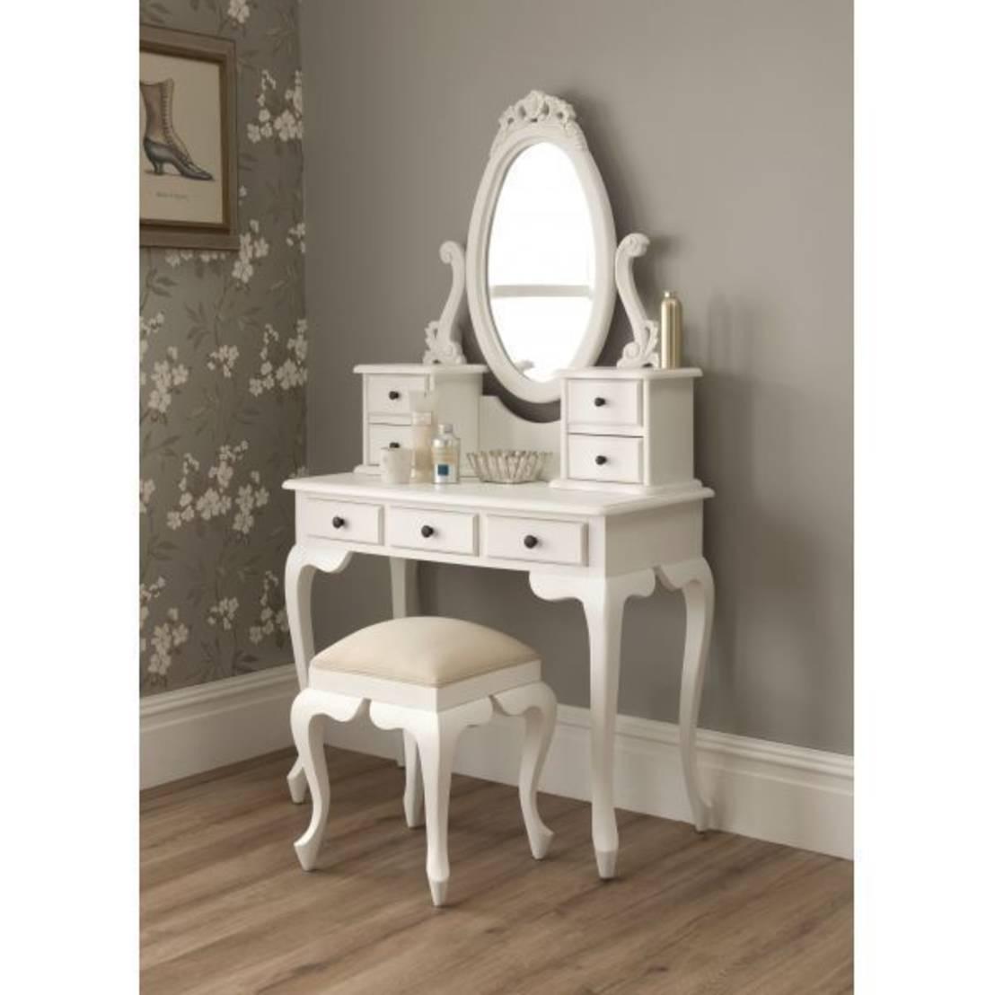 White Vanity Desk with Mirror  Home Furniture Design