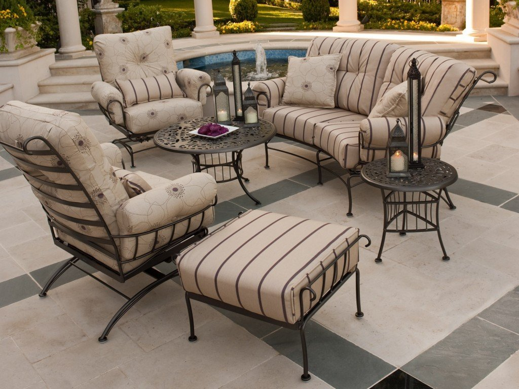 outdoor wrought iron chair cushions yellow chairs living room patio furniture home design