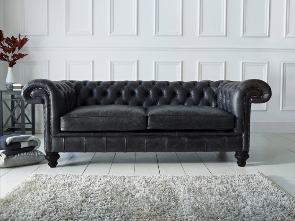 chesterfield sofa black velvet bed cover malaysia leather - home furniture design