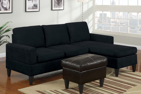 Black Microfiber Sectional Sofa - Home Furniture Design