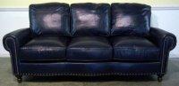 Dark Blue Leather Sofa - Home Furniture Design