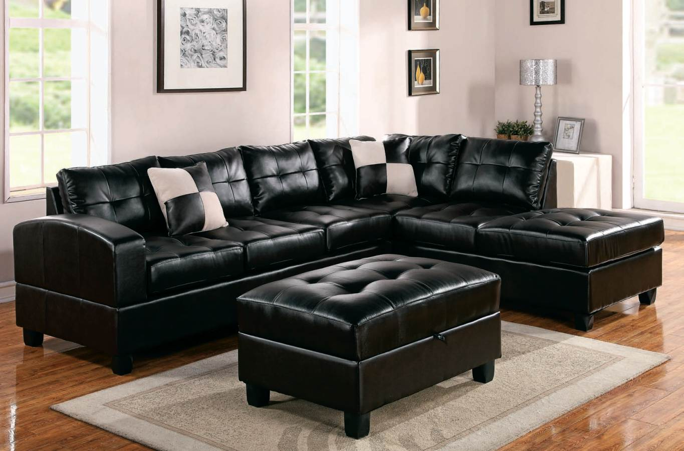 black and white leather sofa durability modern sectional home furniture design