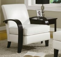 White Leather Accent Chair - Home Furniture Design