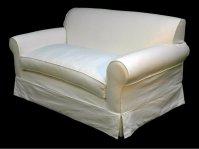 White Slipcovered Loveseat
