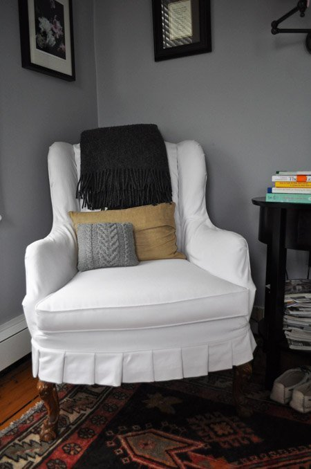 White Wingback Chair Slipcover Home Furniture Design